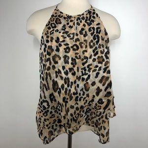 PAPER CRANE Layered Chiffon Leopard Print Top